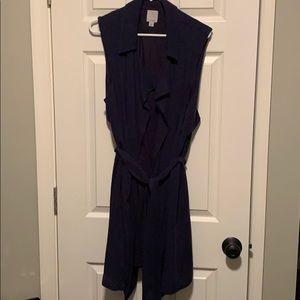 Halogen Navy long draped tie vest